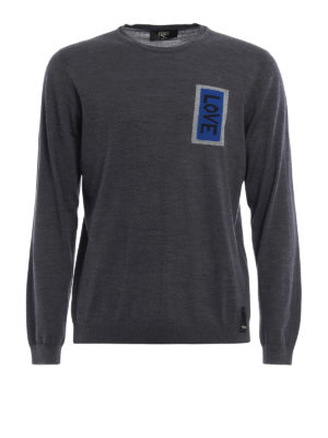 Fendi: crew necks - Love intarsia wool sweater