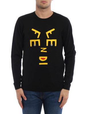 Fendi: crew necks online - Face Words wool sweater
