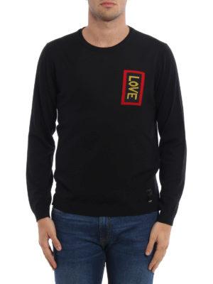 Fendi: crew necks online - Love intarsia wool sweater