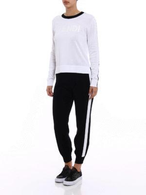 Fendi: crew necks online - Rubberized logo cotton sweater