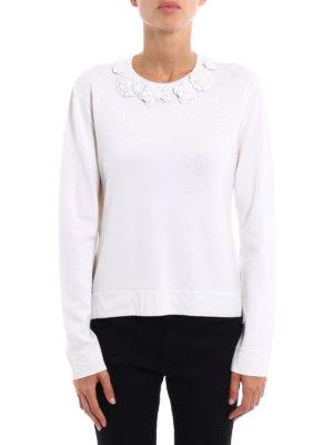 Fendi: crew necks online - Wool sweater with leather flowers