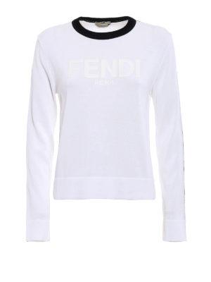 Fendi: crew necks - Rubberized logo cotton sweater