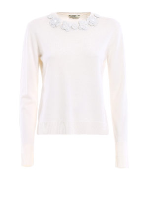 Fendi: crew necks - Wool sweater with leather flowers