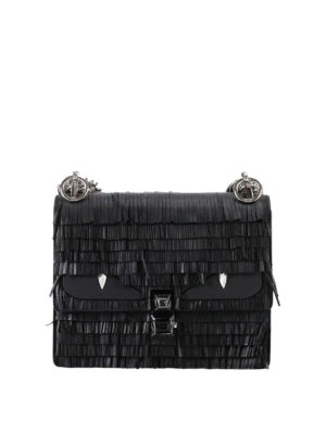 Fendi: cross body bags - Kan I fringed leather small bag