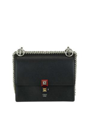 FENDI: borse a tracolla - Borsa Kan I piccola in pelle nera