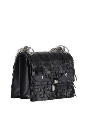 Fendi: cross body bags online - Kan I fringed leather small bag
