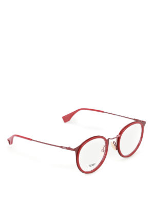 Fendi: glasses - Red metal optical glasses