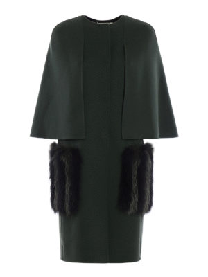 Fendi: knee length coats - Fox fur maxi pockets detailed coat