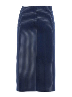 Fendi: Knee length skirts & Midi - Striped cotton and silk drill skirt