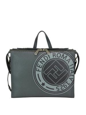 FENDI: borse da ufficio - Borsa Lui in pelle con patch Fendi Stamp