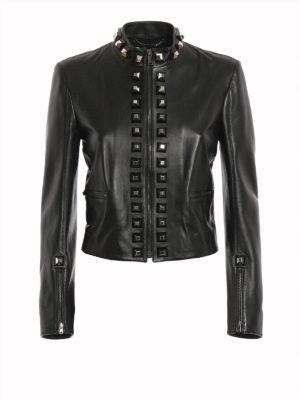 Fendi: leather jacket - Maxi studs leather crop jacket