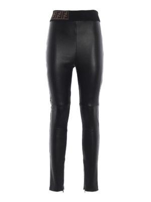 FENDI: leggings - Leggings in nappa con banda in vita