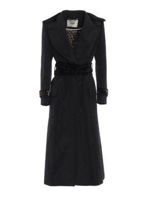 FENDI: cappotti lunghi - Cappotto trench Faille in misto cotone