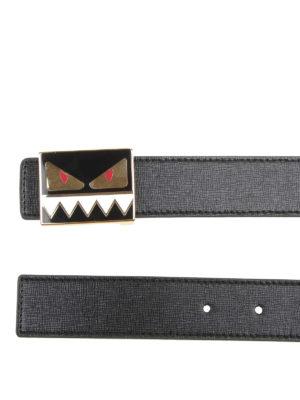 FENDI: cinture online - Cintura in pelle nera con fibbia Bag Bugs