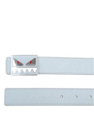 FENDI: cinture online - Cintura in pelle celeste con fibbia Bag Bugs