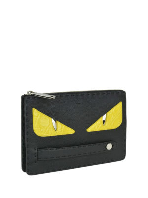 FENDI: pochette online - Clutch in pelle martellata con Bag Bugs