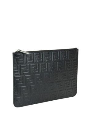 FENDI: pochette online - Clutch in pelle nera con FF goffrato