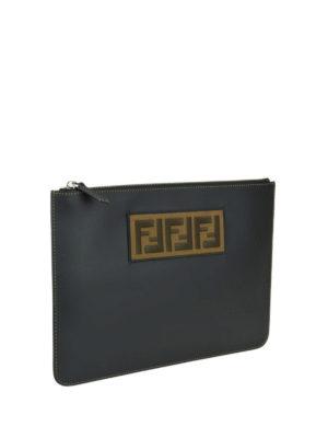 FENDI: pochette online - Clutch in pelle con patch FF jacquard