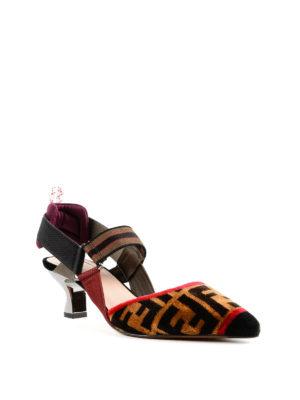 FENDI: scarpe décolleté online - Slingback in tessuto multicolore