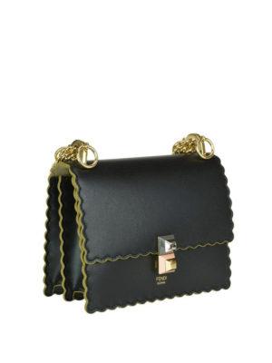 FENDI: borse a tracolla online - Borsa smerlata Kan I piccola in pelle nera