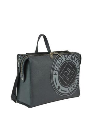 FENDI: borse da ufficio online - Borsa Lui in pelle con patch Fendi Stamp