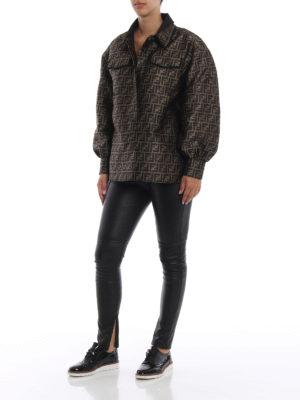 FENDI: leggings online - Leggings in nappa con banda in vita