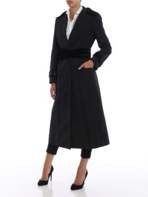 FENDI: cappotti lunghi online - Cappotto trench Faille in misto cotone