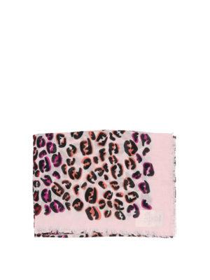 FENDI: sciarpe e foulard online - Sciarpa modal e seta con stampa FF Splash