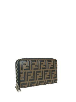 FENDI: portafogli online - Portafoglio in pelle marrone con FF goffrato