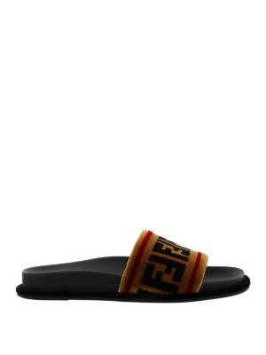 Fendi: sandals - FF velvet slide sandals