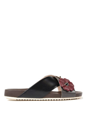 Fendi: sandals - Flowerland detailed leather sandals