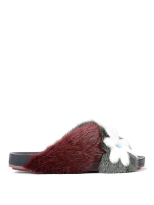 Fendi: sandals - Mink fur flat sandals