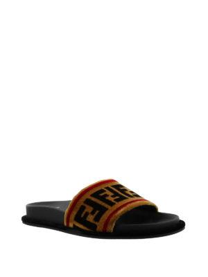 Fendi: sandals online - FF velvet slide sandals