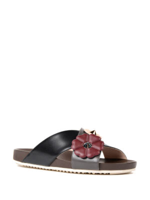 Fendi: sandals online - Flowerland detailed leather sandals