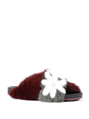 Fendi: sandals online - Mink fur flat sandals