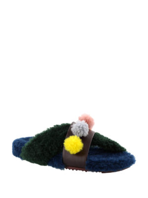 Fendi: sandals online - Multicolour shearling sandals