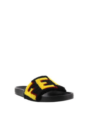 Fendi: sandals online - Shearling logo slide sandals