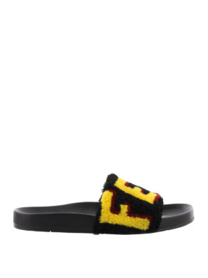 Fendi: sandals - Shearling logo slide sandals