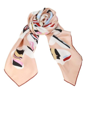FENDI: sciarpe e foulard - Foulard in seta cipria stampa Fendi