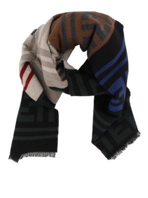 FENDI: sciarpe e foulard - Sciarpa in lana color block con macro FF