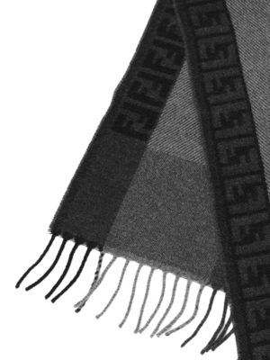 Fendi: scarves online - FF logo wool and angora scarf