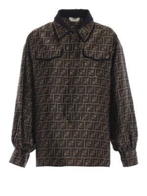 FENDI: camicie - Camicia jacquard di misto seta e lurex