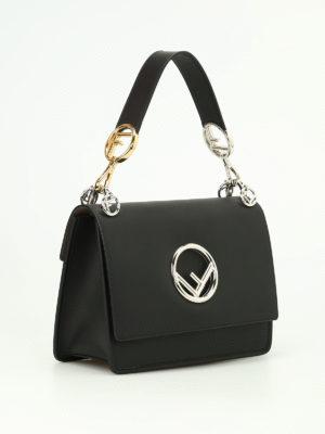 Fendi: shoulder bags online - Kan black leather shoulder bag