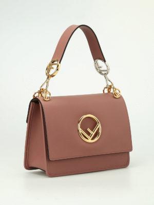Fendi: shoulder bags online - Kan pink leather shoulder bag