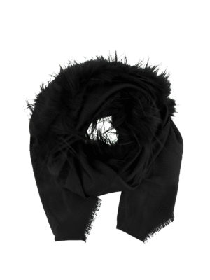 Fendi: Stoles & Shawls - Fox fur detailed silk wool shawl