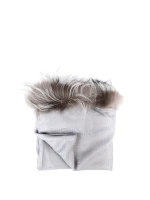 Fendi: Stoles & Shawls - Fox fur trimmed silk wool shawl