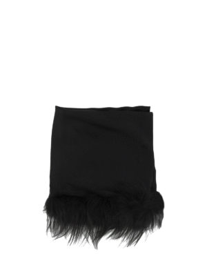 Fendi: Stoles & Shawls online - Fox fur detailed silk wool shawl