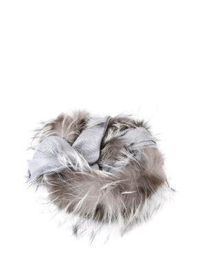 Fendi: Stoles & Shawls online - Fox fur trimmed silk wool shawl