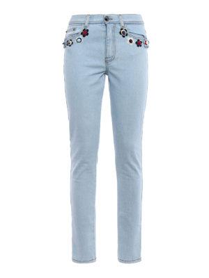Fendi: straight leg jeans - Flowerland flowers jeans