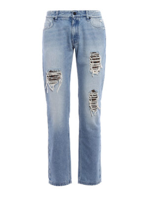 Fendi: straight leg jeans - Logo patches denim slim jeans